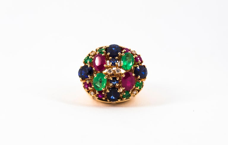 Art Deco Style 10.15 Carat Diamond Ruby Emerald Sapphire Yellow Gold Ring For Sale 7