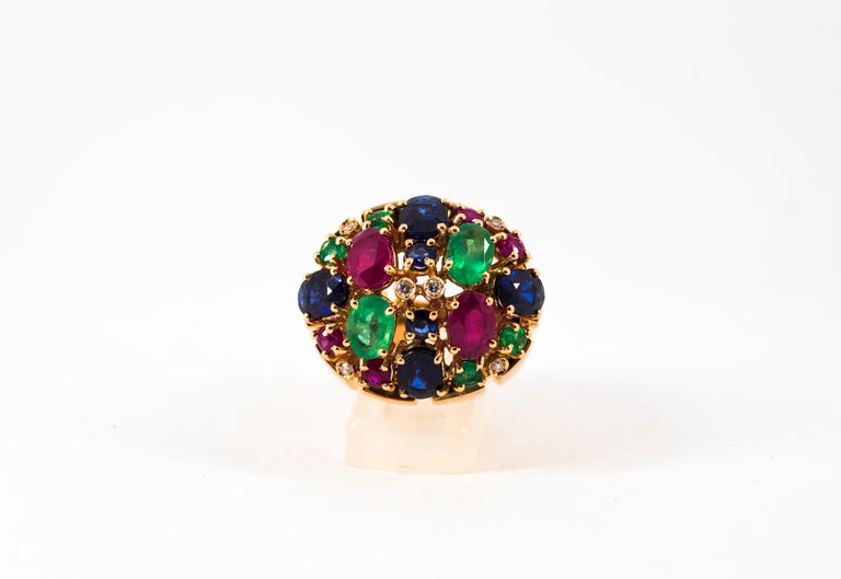 Art Deco Style 10.15 Carat Diamond Ruby Emerald Sapphire Yellow Gold Ring For Sale 8