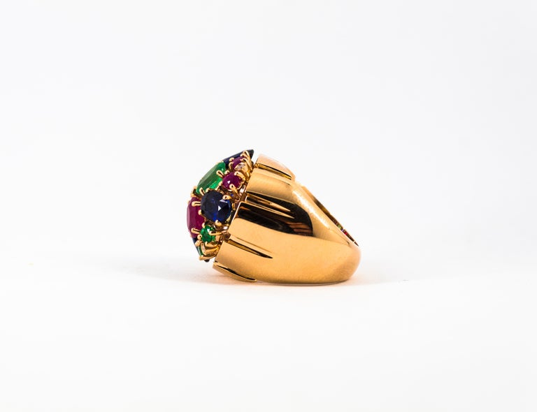 Art Deco Style 10.15 Carat Diamond Ruby Emerald Sapphire Yellow Gold Ring For Sale 10