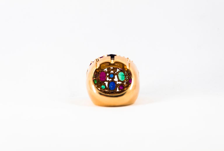 Art Deco Style 10.15 Carat Diamond Ruby Emerald Sapphire Yellow Gold Ring For Sale 11