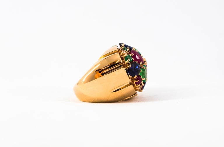Art Deco Style 10.15 Carat Diamond Ruby Emerald Sapphire Yellow Gold Ring For Sale 12