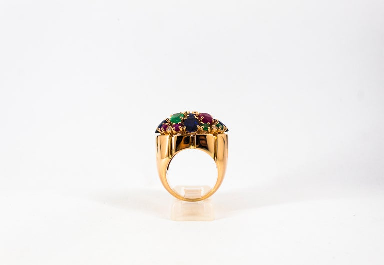 Art Deco Style 10.15 Carat Diamond Ruby Emerald Sapphire Yellow Gold Ring For Sale 4
