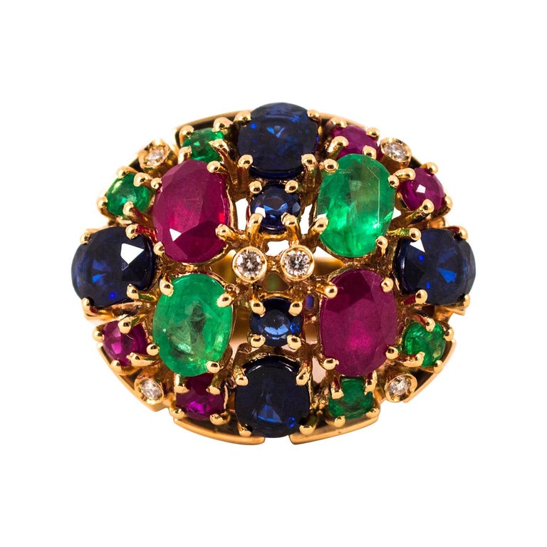 Art Deco Style 10.15 Carat Diamond Ruby Emerald Sapphire Yellow Gold Ring For Sale