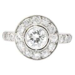 Art Deco 1.02 Carat Diamond and 14 Karat White Gold Cluster Ring