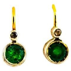 Art Deco 1.02 Carat Emerald White Diamond Yellow Gold Lever-Back Dangle Earrings