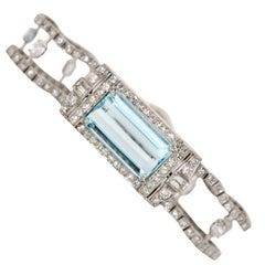 Art Deco 10.20 Carat Aquamarine Platinum and Diamond Vintage Bracelet