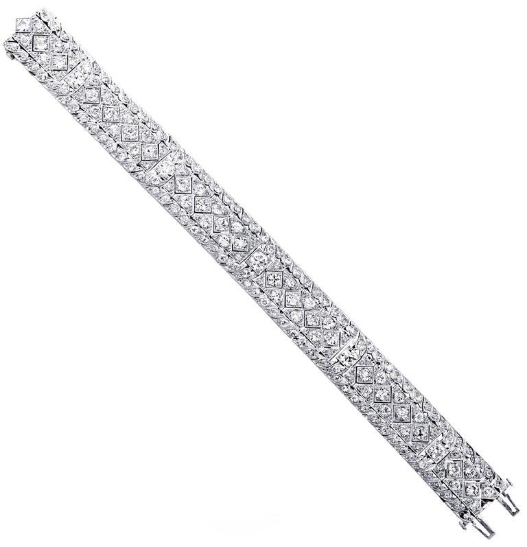 Art Deco 10.25 Carat Diamond Bracelet In Good Condition For Sale In Miami, FL