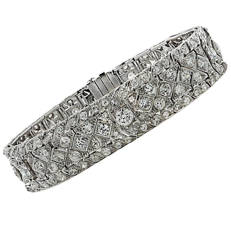 Art Deco 10.25 Carat Diamond Bracelet For Sale