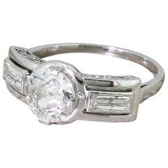 Art Deco 1.03 Carat Old Cut Diamond Platinum Engagement Ring