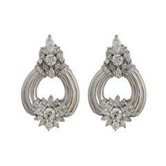 Art Deco 10.31 Carat with 2.50 Carat Total Carat Weight Diamond Drop Earring
