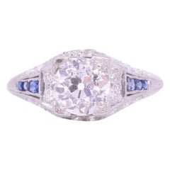 Art Deco 1.04 Carat Old European Cut Diamond and Sapphire Ring, circa 1920s