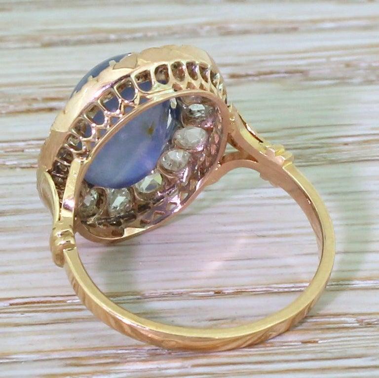Women's Art Deco 10.45 Carat Star Sapphire and Rose Cut Diamond Ring For Sale