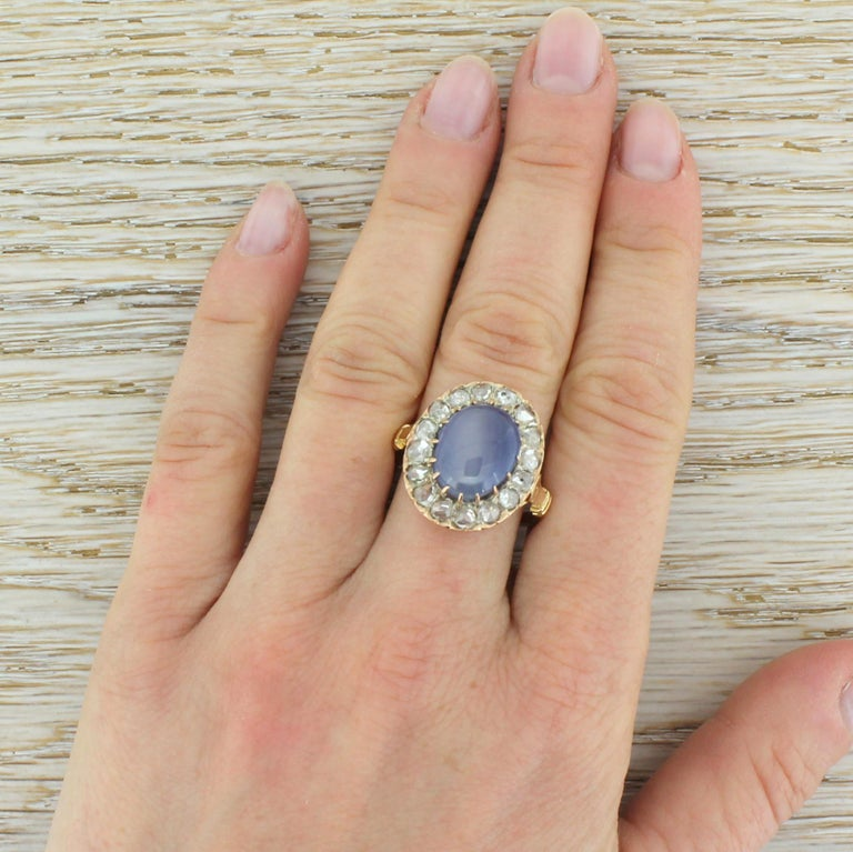 Art Deco 10.45 Carat Star Sapphire and Rose Cut Diamond Ring For Sale 1