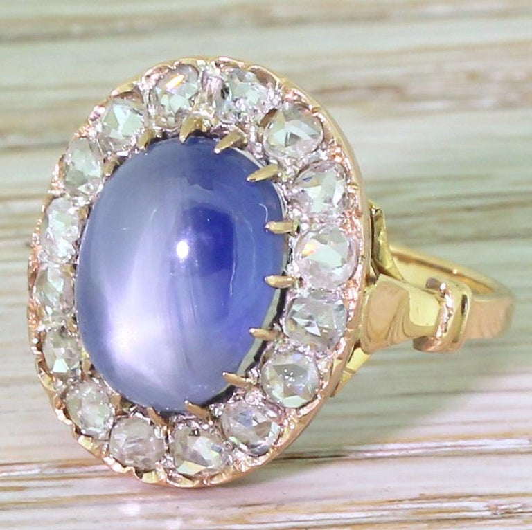 Art Deco 10.45 Carat Star Sapphire and Rose Cut Diamond Ring For Sale 3