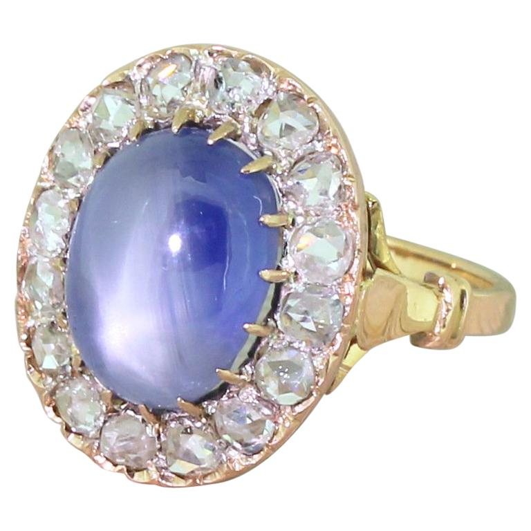 Art Deco 10.45 Carat Star Sapphire and Rose Cut Diamond Ring For Sale