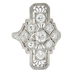 Art Deco 1.05 Carat Diamond Platinum Dinner Ring, circa 1930s