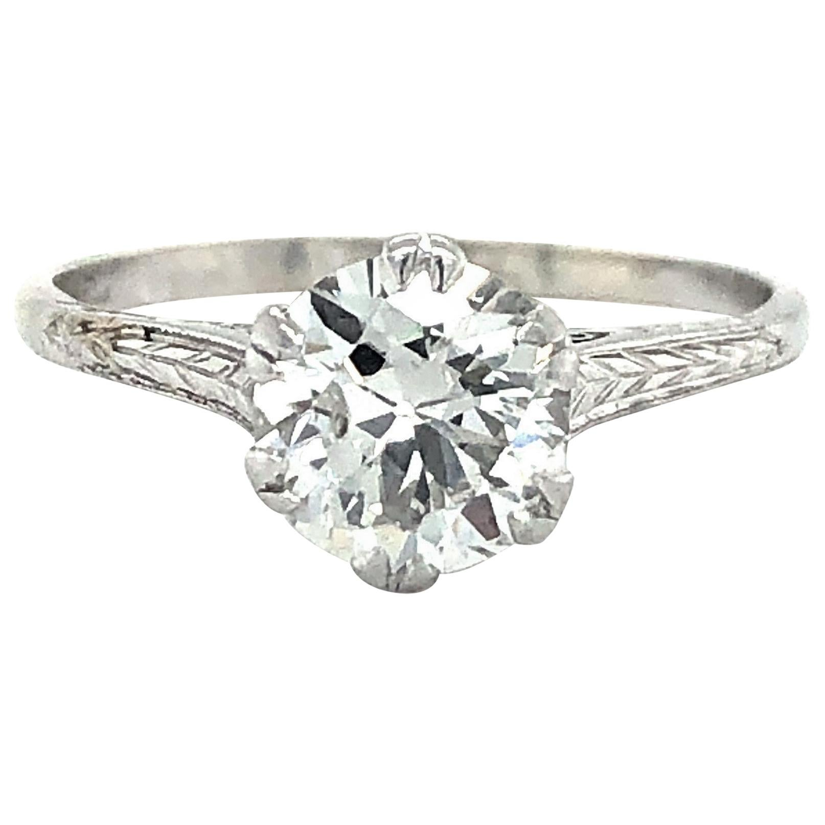 Art Deco 1.05 Carat European Cut Diamond Solitaire Ring 14 Karat White Gold