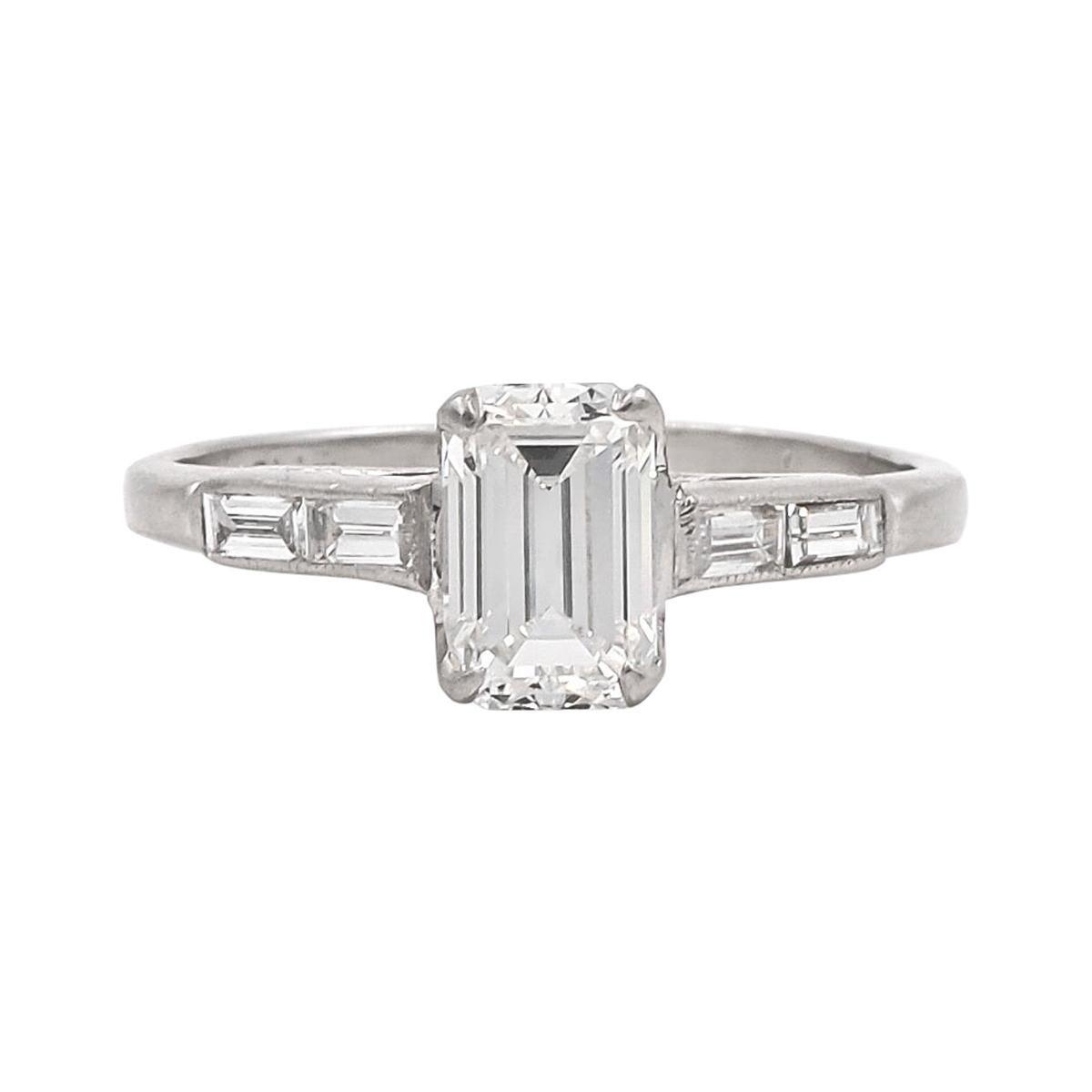 Art Deco 1.05 Carat GIA Certified G/VS1 Emerald Cut Diamond Engagement Ring