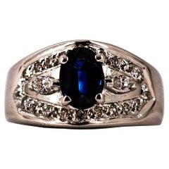 Art Deco Style 1.05 Carat Modern Round Cut Diamond Blue Sapphire White Gold Ring