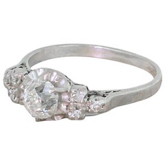 Art Deco 1.06 Carat Old Cut Diamond Engagement Ring