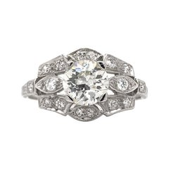 Art Deco 1.06 Carat Platinum Diamond Engagement Ring