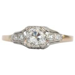 Art Deco 1.07 Carat Old Miner Antique Cushion Cut Diamond Platinum Ring