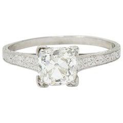 Art Deco 1.08 Carat Old Mine Diamond Platinum Engagement Ring GIA