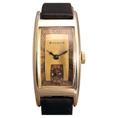 Art Deco 10k Rolled Gold Gents Wristwatch by Bulova, Fully Serviced, c1943