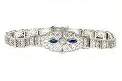 Art Deco 10K White Gold Sapphire and Diamond Filigree Bracelet