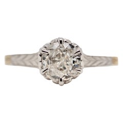 Art Deco 10 Karat Yellow and White Gold Six Claw-Prong Solitaire Diamond Ring