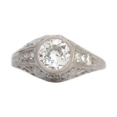 Art Deco 1.1 Carat Old European Diamond Vintage Platinum Filigree Solitaire Ring