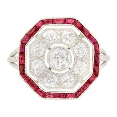 Art Deco 1.10 Carat Diamond and Ruby Octagon Target Ring, circa 1920s