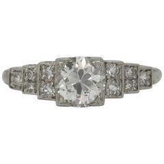 Art Deco 1.10 Carat Diamond Engagement Ring GIA Certified Old European Platinum