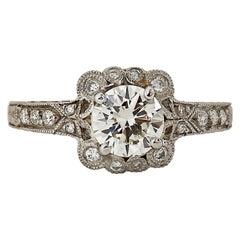 Art Deco 1.10 Carat Diamond Platinum Ring