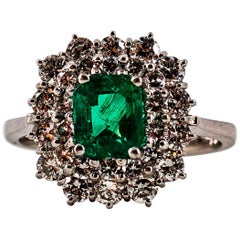 Art Deco 1.10 Carat Emerald 1.00 Carat White Diamond White Gold Cocktail Ring