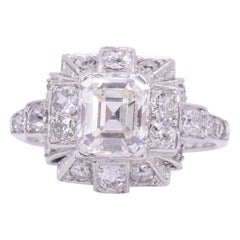 Art Deco 1.10 Carat Emerald Cut Diamond Engagement Ring, circa 1920s
