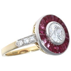 Art Deco 1.10 Carat Ruby Gold Engagement Ring