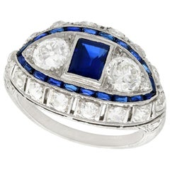 Art Deco 1.10 Carat Sapphire and 2.45 Carat Diamond Platinum Cocktail Ring