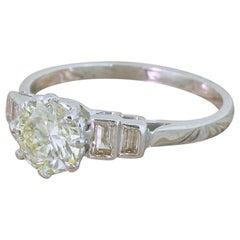 Art Deco 1.10 Carat Transitional Cut Diamond Engagement Ring