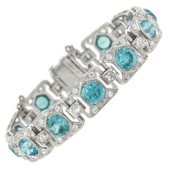 Art Deco 11.00 Total Carat Blue Zircon and 1.50 Total Carat Diamond Bracelet