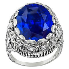 Art Deco 11.00 Carat Sapphire Diamond Engagement Ring