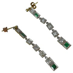 Art Deco 1.10 Carat Diamond Emerald 18 Carat Gold Platinum Earrings
