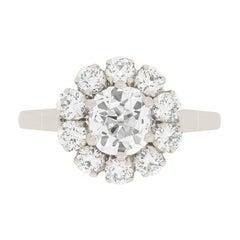 Art Deco 1.10ct Diamond Halo Ring, c.1920s