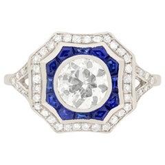 Art Deco 1.12 Carat Diamond and Sapphire Ring, circa 1930s