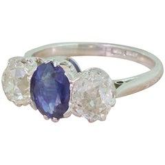 Art Deco 1.13 Carat Sapphire & 1.27 Carat Old Cut Diamond Platinum Trilogy Ring