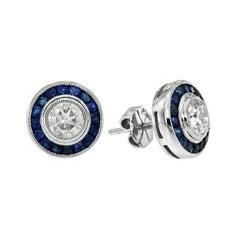 Diamond Blue Sapphire Stud Earrings