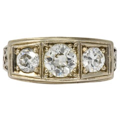 Art Deco 1.15 Carat Diamond 14 Karat White Gold Three-Stone Ring