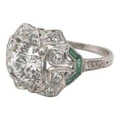 Art Deco 1.16 Carat Diamond and Emerald Ring