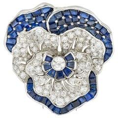 Art Deco 11.62 Carat Sapphire Diamond Platinum Pansy Flower Brooch Oscar Heyman