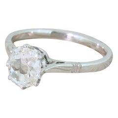 Art Deco 1.17 Carat Old Mine Cut Diamond Engagement Ring